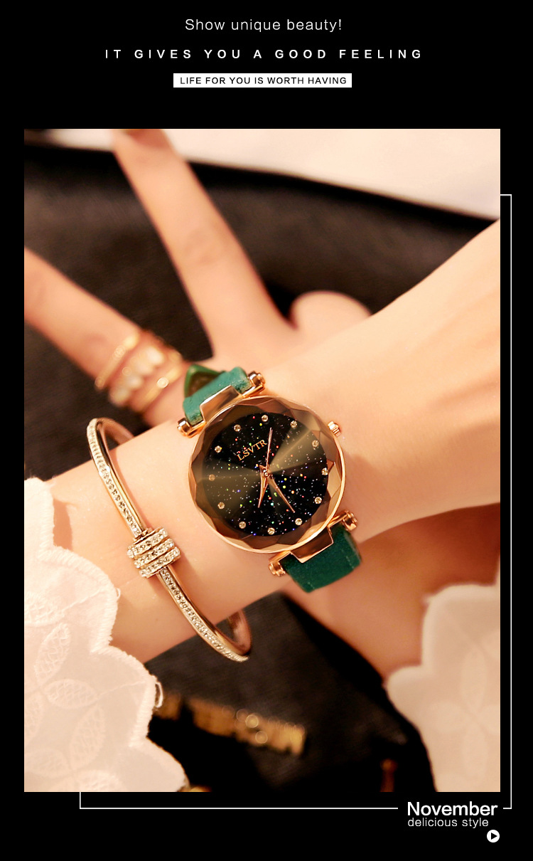 18 Luxury Brand Gogoey Women Watches Personality romantic starry sky Wrist Watch Leather Rhinestone Designer Ladies Red Clock 26