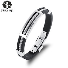 Jiayiqi New Mens Bracelets Stainless Steel Black Silicone Bracelets Charm Bracelet Male Bangle For Men Jewelry 2017 Silver Color(China)