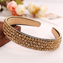 Hansoo Luxury Gemstone Hair Bands Aurstria Rhinestone Headband Bridal Crystal Broad Brimmed Hair Accessory 2 Colors Gift Mother(China)
