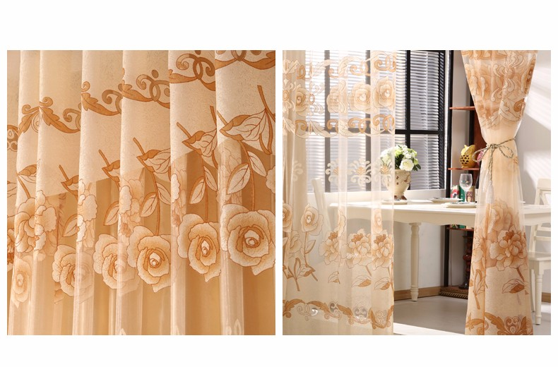 European Royal Curtains 11 Colors Embroidered Voile Curtains for Living Room Drapes Crystal Beaded Curtains Sheer (39)