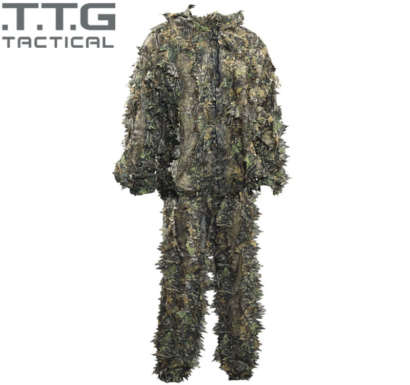 UltraLight Adult Camo 3D Leaf Ghillie Suit Breathable Lightweight Voice Silence Hunting Ghilly Suit Set (Includes Jacket, Pants)<br><br>Aliexpress