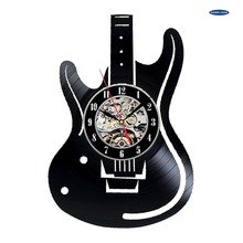 Electric Guitar Design Vinyl Record Wall Clock - Get unique home room or office wall decor-Musical Instruments Unique Modern Art
