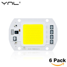 6pcs/lot COB LED Lamp Chip 50W 30W 20W 220V & 110V Cold Warm White Input Smart IC Driver Fit For DIY LED Floodlight Spotlight