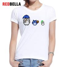 REDBELLA Women 2017 T-shirt Kawaii Pixel Cute Totoro Umbrella Game Character Japanese Cotton Poleras De Mujer Moda Short Sleeve