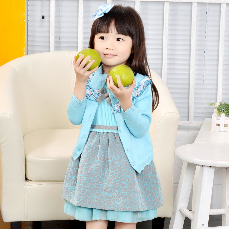 2015 spring female child knitted long-sleeve cardigan child childrens clothing one-piece dress sweater winter set skirt<br>