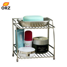 ORZ 2-Layers Stainless Steel Storage Rack Spice Condiment Basket Desk Organizer Kitchen Bathroom Storage Holder Rack Shelf(China)