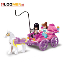 Educational Compatible Pink Dream carriage Snack Car Building Blocks Particles Bricks Girls Figure Toys for Children lepine