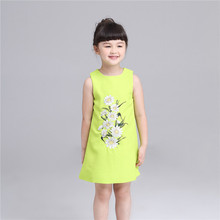 Tribros 2017 Spring Summer Baby Girls Floral sleeveless Princess Dresses O-Neck Costume For Kids Girls Clothes  Daisy Mini Dress