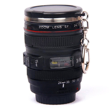 New Coffee Lens Emulation Camera Mug Cup Beer Cup Wine Cup With Lid Black Plastic Cup&Caniam Logo Mugs tazas cafe(China)
