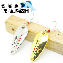 5pcs/pack W.M.Fish Spinner Bait Artificial Beetle Blade Fishing Lure With Feather Treble Hook Freshwater Angling Bass Pout