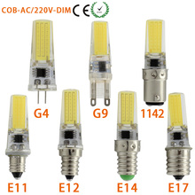 LED COB 1W G9 G4 Dimmable Lamp Bulb E14 E12  E11 E17 1142 Spotlight 110V 220V 230V 240V AC 270 Degree 1pc/lot