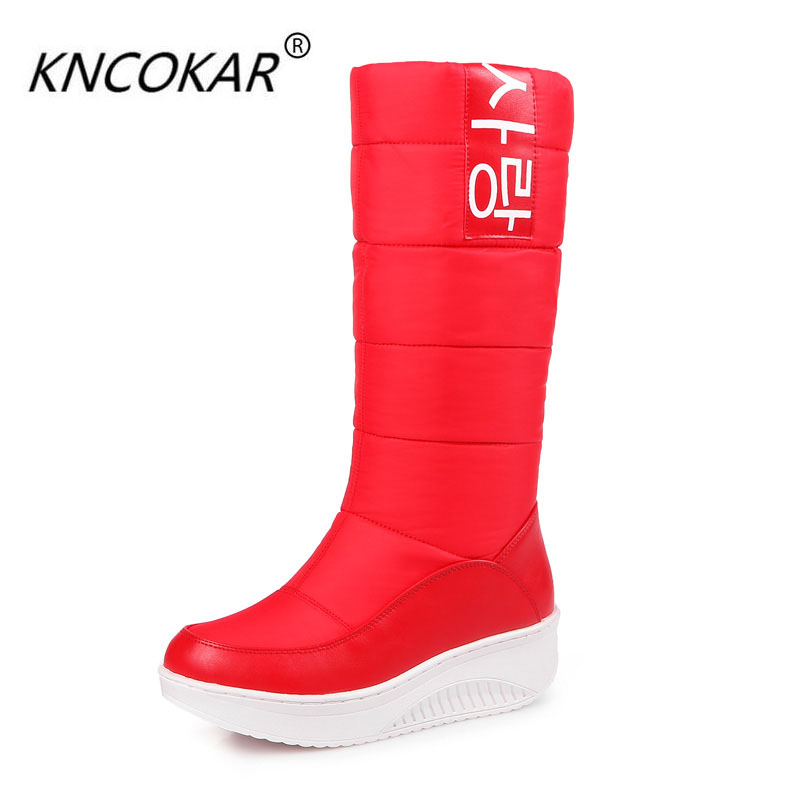 KNCOKAR 2018 Thick bottom feather snow boots female waterproof  winter sleeve extra thick cotton black and plush warm<br>