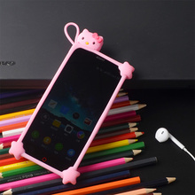Anti Knock Sling 3D Silicone Cartoon Stitch kitty Minnie Universal Phone Frame Bumper case For iPhone 5S 6 7 Plus Samsung xiaomi(China)