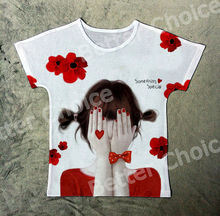 Track Ship+New Fresh Printed Vintage Retro T-shirt Top Tee Girl Hold My Face and Want Something Special Red Flower 1375(Hong Kong)