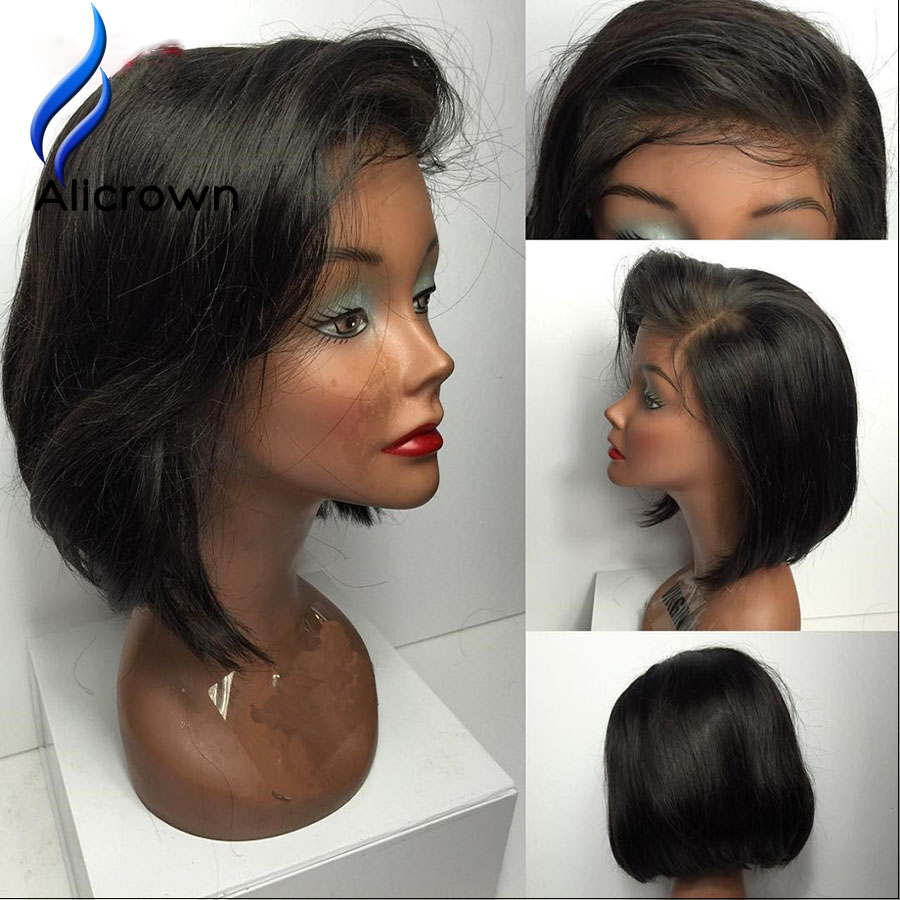ALICROWN 10a Human Hair Bob Wig Short Brazilian Full Lace Wigs With Baby Hair Short Lace Front Wigs Human Hair Silky And Soft<br><br>Aliexpress