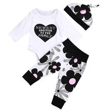 Autumn Winter Cute Newborn Baby Girls Clothes Cotton Tops Long Sleeve Romper Floral Leggings Pants Hat Outfits Set 3pcs(China)
