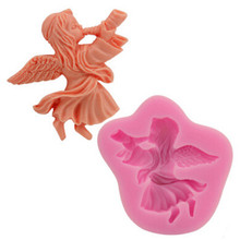 3D Trumpets little angel girl FDA DIY Silicone Pudding Moon Cake Mold Chocolate Mold for Kitchen Baking Soap Mold Fondant Mold