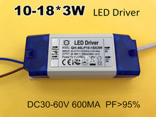 10-18*3w LED driver plastic shell led power supply input AC85-277V output DC30-60V 600ma PF>0.95 efficiency90%