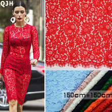 150cm*150cm 1pcs Hot France guipure swiss voile lace high quality jacquard water soluble lace Fabric for partying Wedding dress(China)