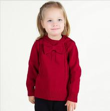 infant baby girl sweater sueter infantil pullover for toddler kids girls knitted sweater elegant baby girl jumper with bow tie(China)