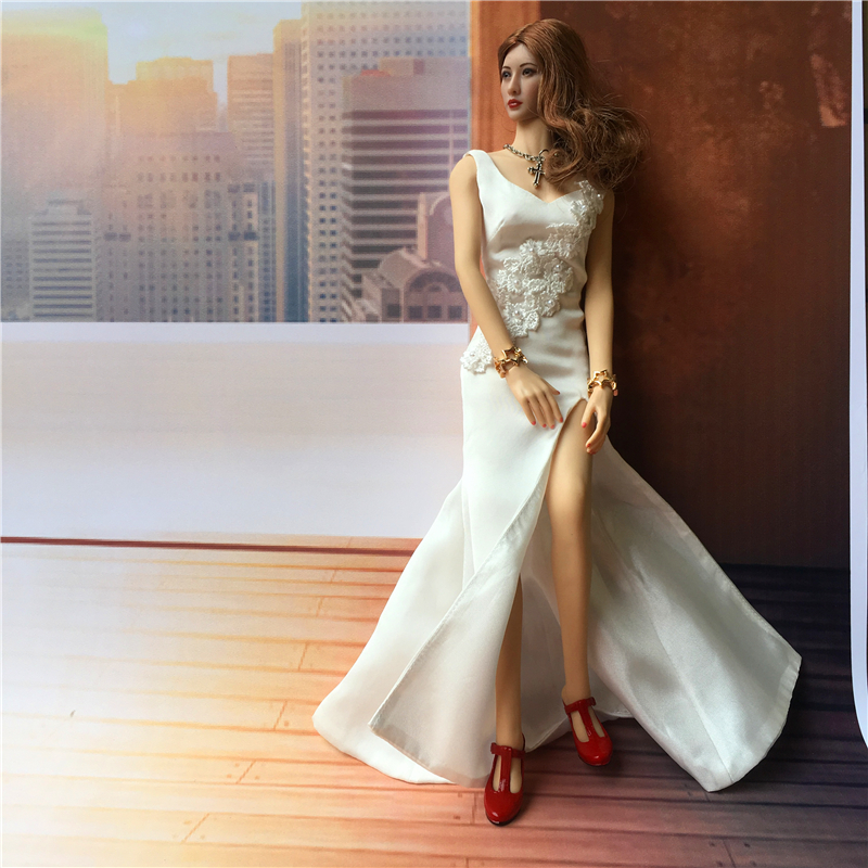 "Toy 1//6 Scale Woman White Dress F 12/"" HT TTL CG Phicen Kumik Female Body Model"