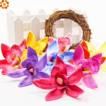 20pcs/lot 7.5cm Silk Gradient Orchid Artificial Flower Head For Wedding Decoration DIY Wreath Gift Scrapbooking Fake Flower(China)