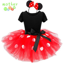 2017 Newest Kids Gift Minnie tutu Party Dress Fancy Costume Cosplay Girls Minnie Dress+Headband 12M-7Y Infant Baby Clothes Red(China)