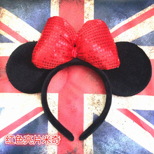 1pcs Mickey Minnie Mouse Ears Headband Birthday Party Decoration Boys Girls Pink And Red Hair Accessories Party Supplies