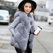New 2017 Winter Women Fashion Faux Fur Vest Female Slim Warm Gliet Artificial fur Coat Waistcoat High-Grade Faux Fur Coats PC152