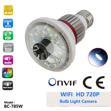 "BC-785W HD 720p Home Bulb Ip Camera White LED Light 1/4"" CMOS Sensor Support ONVIF Micro-SD Card With 4pcs of IR LED"