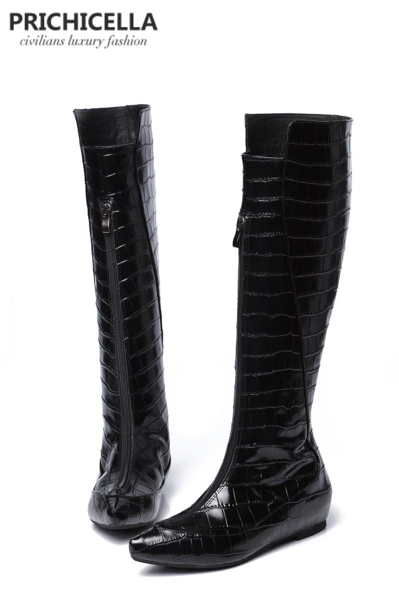 646156b15b9b60 PRICHICELLA Genuine Leather Black Crocodile Wedge Heel Knee High ...