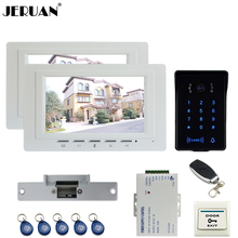 JERUAN luxury 7`` TFT Video Intercom Video Door Phone System 2 monitor RFID Waterproof Touch key Camera+Remote control Unlocked