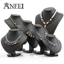 ANFEI Black Volor Mannequin Shape PU Leather Jewelry Display Stand For Counter Showcase Necklace/Pendant Bust Displays Holder(China)