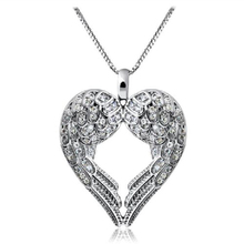 Best-Selling Romantic Women  Delicate Heart Love Pendant Chain Angle Wing Necklace 6C8E