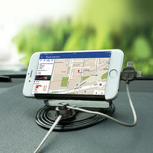 Universal Mobile Phone Car Phone Holder For GPS iPad iPod iPhone Samsung XiaoMi Mi HuaWei Phone Car HolderThre Head Cable(China)