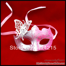 12 Pcs New Design Hot Woman Mask Pink Silver Venetian Metal Butterfly Mask Free Shipping