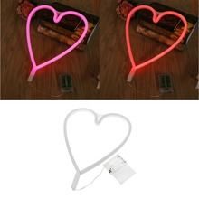 LED Loving Heart Neon Sign Light Night Lamp With Battery Box Wedding Xmas Party Decor(China)