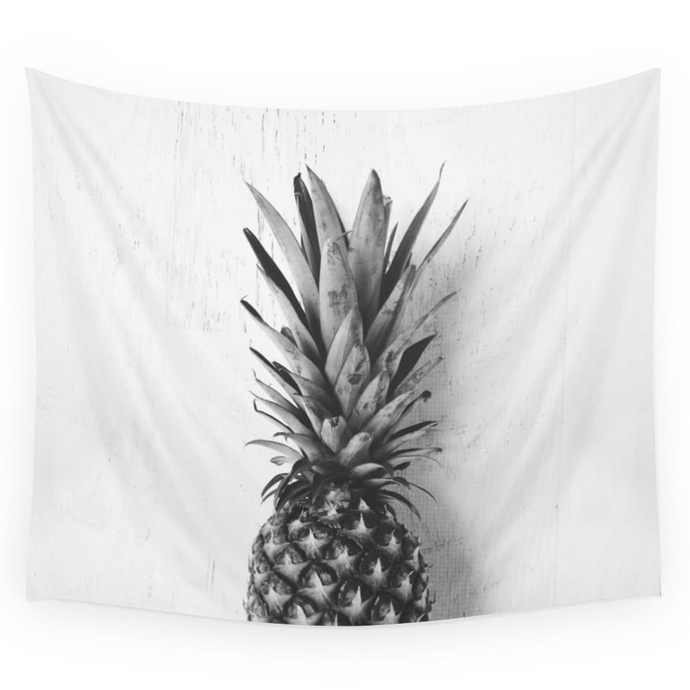 Black And White Pineapple Wall Tapestry 51