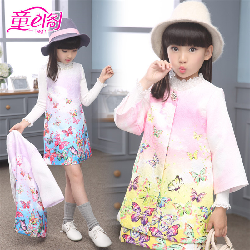 Children Clothing Set Kids Girl Clothes 2015 Girls Sets Brand Floral Dobby Kids Tracksuit(Jacket+Dress) Girls Clothing Sets<br><br>Aliexpress