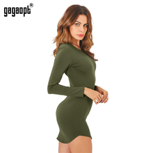 Gagaopt 2017 4 Colors Autumn Dress Sexy Mini Slim Office Dress Long sleeve Bandage Summer Dress Solid Robes Vestidos(China)