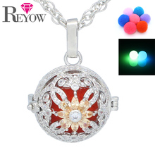 "Glow in the Dark Beads Aromatherapy Jewelry White Gold Full Crystal Flower Locket Pendant Essential Oil Diffuser 24"" Necklace(China)"