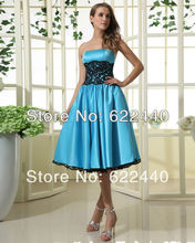 New Arrival Custom Fashion Strapless Lace Bodice Knee Length Bridesmaid Dress Short Wedding Dress