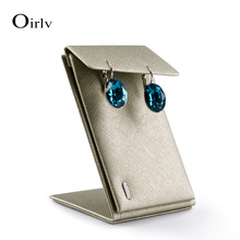 Wholesale Gold Leather Ear Stud Jewelry Stand Holder Rack Organizer Pierced Z shape Earring Display Exhibitor(China)