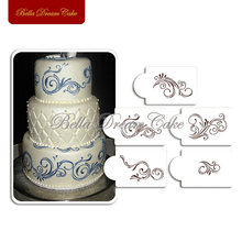 Five Scroll Cake Stencils Design Christmas Cake Stencil Wall Decorating Fondant Cake Tools for Cakes Bakery Kitchenware ST-132(China)