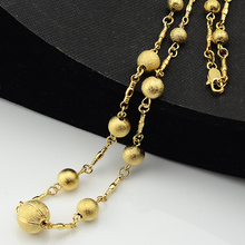 1pcs Beads Necklace Women Men Jewelry Gold Color Link Chains Engraving Ball Jewelry(China)