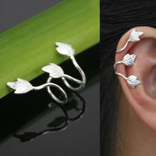 2 Pcs Fashion No Piercing Silver Plated Leaf Clip On Ear Cuff Earring Wrap Punk(China)