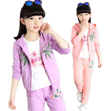 2017 New 2Pcs Set Children Girls Spring Clothing Set Baby Girls Sports Suit Casual Costume Hoodies Clothing