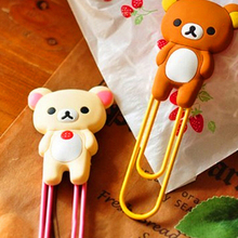 Cartoon Bear Metal bookmarks for books Cute paper clips book markers Kawaii stationery office school supplies(China)