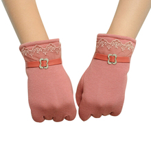 One Pair Fashion Women Touch Screen Lace Cotton Gloves(Pink)
