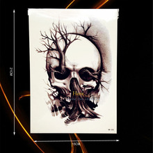 1PC New Design Death Skull Tree Tattoo For Men Women Body Art Temporary Arm Tattoo Sleeve Sticker Waterproof Leg Tatoos HHB-335(China)